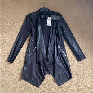 Zara Woman XS Black Faux Leather Cardigan